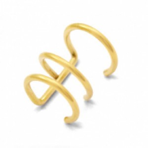 Stainless steel earcuff 3 layer goud 13mm