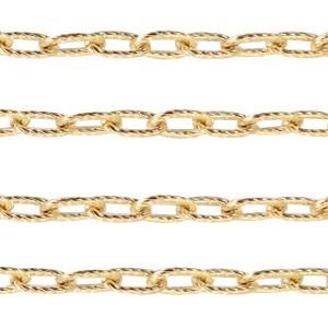 Stainless steel jasseron ankerketting 9x5mm goud per 20cm
