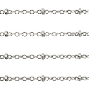 Stainless steel jasseron ovalen schakel 2mm zilver per 20cm