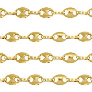 Stainless steel jasseron puff mariner link 7x5mm goud per 20cm