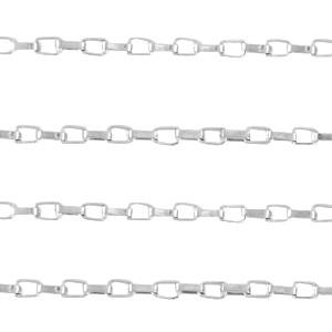Stainless steel jasseron venetiaanse schakel 3x2mm zilver per 20cm