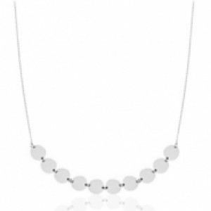 Stainless steel ketting coin big zilver 55cm