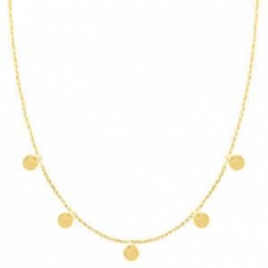 Stainless steel ketting coin small goud 55cm