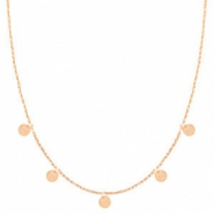 Stainless steel ketting coin small rosé 55cm