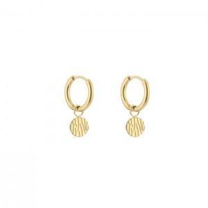 Stainless steel oorbellen / creolen bali print circle 10mm goud