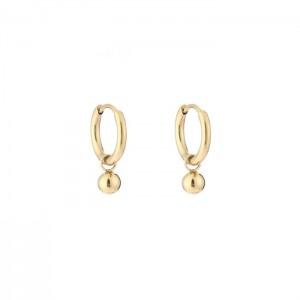 Stainless steel oorbellen / creolen ball 10mm goud