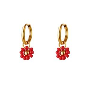 Stainless steel oorbellen / creolen beaded flower red 11mm goud