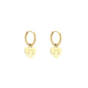 Stainless steel oorbellen / creolen hartjes smiley 10mm goud