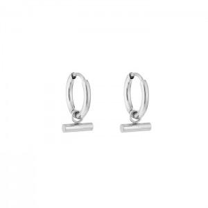 Stainless steel oorbellen / creolen horizontal tube 10mm zilver