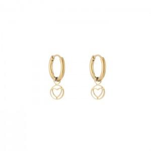 Stainless steel oorbellen / creolen love in a circle 10mm goud
