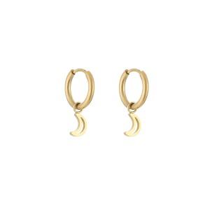 Stainless steel oorbellen / creolen open moon 10mm goud