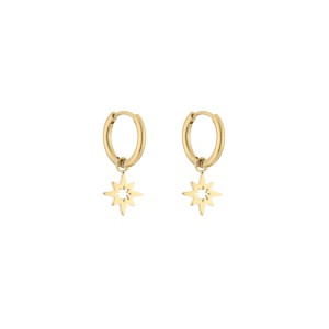 Stainless steel oorbellen / creolen open morning star 10mm goud