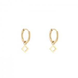 Stainless steel oorbellen / creolen open square 10mm goud