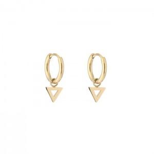 Stainless steel oorbellen / creolen open triangle 10mm goud