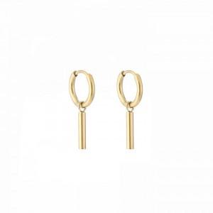 Stainless steel oorbellen / creolen round tube 10mm goud