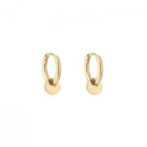Stainless steel oorbellen / creolen small discus 10mm goud