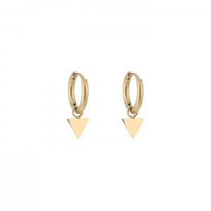 Stainless steel oorbellen / creolen triangle 10mm goud