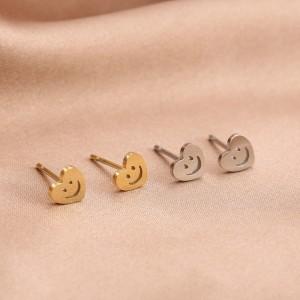 Stainless steel oorknopjes hartjes smiley 5mm goud en zilver