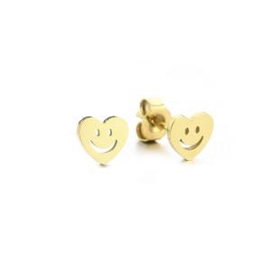 Stainless steel oorknopjes hartjes smiley 5mm goud