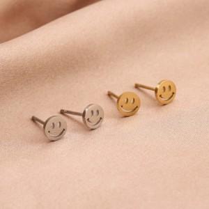 Stainless steel oorknopjes smiley 5mm goud en zilver