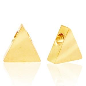 Stainless steel (roestvrij staal) RVS kraal driehoek 8x7mm goud