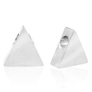 Stainless steel (roestvrij staal) RVS kraal driehoek 8x7mm zilver