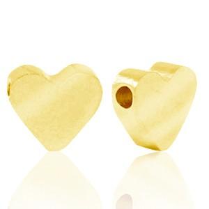 Stainless steel (roestvrij staal) RVS kraal hart 8x7mm goud