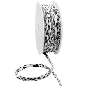 Stitched elastisch lint ibiza black-white leopard (per 25cm)