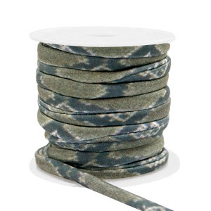 Stitched elastisch lint ibiza snake green ash (per 25cm)