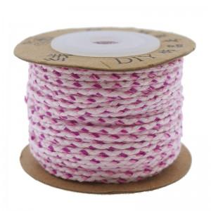 Surfkoord / geweven koord 1.5mm licht roze fuchsia per meter