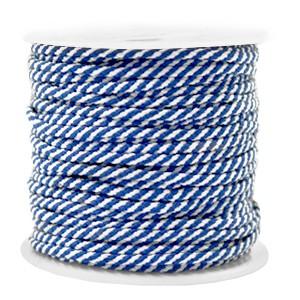 Surfkoord / geweven koord 2mm blue white per meter