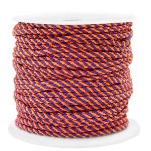 Surfkoord / geweven koord 2mm orange purple per meter