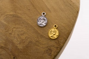Symbols coin 925 sterling zilver en goldplated 12mm (per stuk)