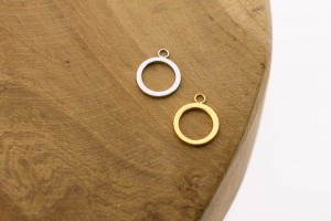Karma symbols open circle 925 sterling zilver en goldplated 9mm (per stuk)