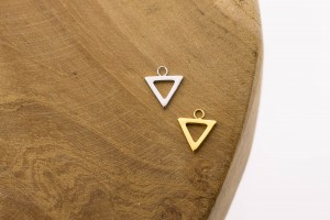 Symbols open triangle 925 sterling zilver en goldplated 10mm (per stuk)