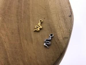 Karma symbols snake 925 sterling zilver en goldplated (per stuk)