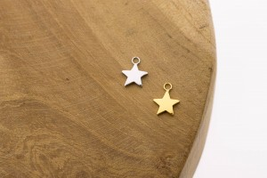 Karma symbols star 925 sterling zilver en goldplated 10mm (per stuk)