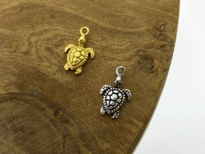 Symbols turtle 925 sterling zilver en goldplated (per stuk)