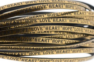 Tekst leer 'hope love heart' brons metallic 5mm (per 20cm)
