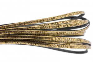 Tekst leer 'hope love heart' brons metallic zwart 5mm (per 20cm)