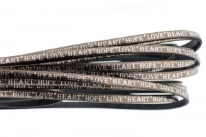 Tekst leer 'hope love heart' bruin metallic zilver 5mm (per 20cm)