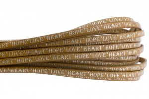 Tekst leer 'hope love heart' cognac zilver 5mm (per 20cm)