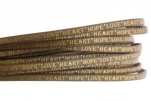 Tekst leer 'hope love heart' naturel goud 5mm (per 20cm)