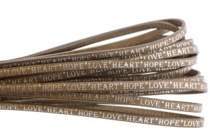Tekst leer 'hope love heart' naturel zilver 5mm (per 20cm)