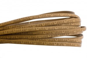 Tekst leer 'love hope dream' cognac 5mm (per 20cm)