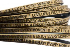 Tekst leer 'love life & enjoy every moment' brons metallic 5mm (per 20cm)