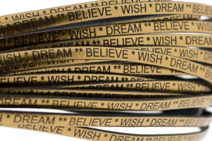 Tekst leer 'wish dream believe' brons metallic 5mm (per 20cm)