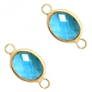 Tussenzetsel crystal glas ovaal 16x10mm blue zircon crystal / goud