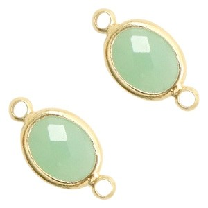 Tussenzetsel crystal glas ovaal 16x10mm crysolite green opal / goud