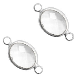 Tussenzetsel crystal glas ovaal 16x10mm crystal / zilver